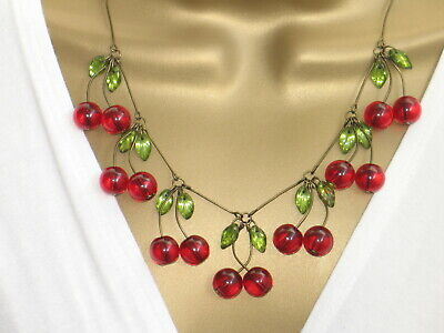 Art Deco 1940s 1950s Rockabilly Vintage style Glass Cherry Necklace - CHERRIES