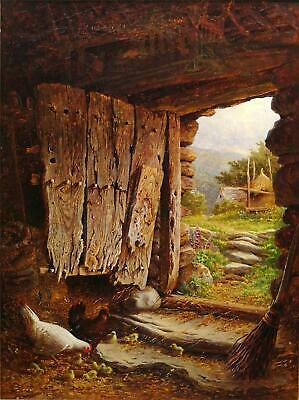 C L Coppard, 19Th C. Original Antique Canvas Oil Painting, Hens & Chicks In Barn