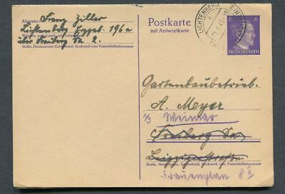 German Reich WW II : Better Hitler stationary from 1943 w/ reply card - used !!!