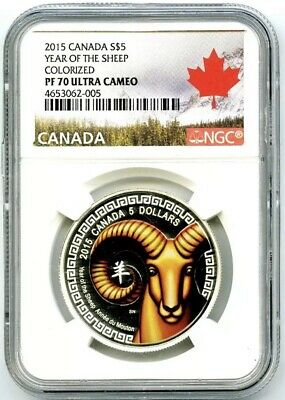 2015 $5 Canada 3/4Oz .9999 Silver Year Of The Sheep Ngc Pf70 Ucam Proof Rare