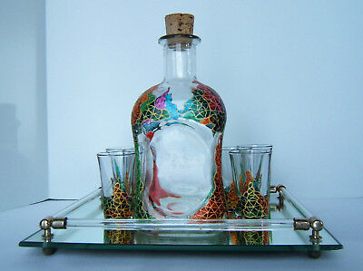 Vtg Decanter & 6 Shot Glasses Set on Mirror Tray ~ Painted Stained Glass Style