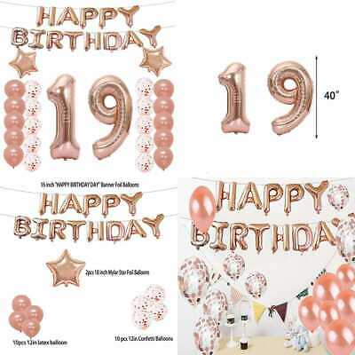 19Th Birthday Decorations Party Supplies Balloons ROSE GOLD Number 19 Mylar Ball