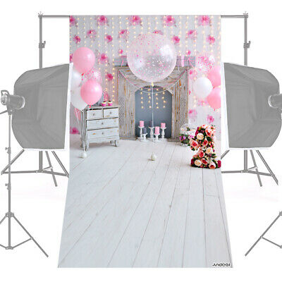 Andoer 1.5 * 0.9m/5 * 3ft Birthday Party Photography Background Pink H0F0