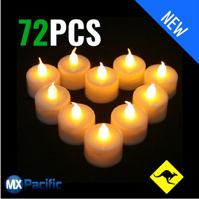 72 x Led Flickering Tea Light Candles