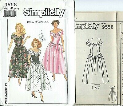 S 9558 sewing pattern Gorgeous DRESS pleated shoulder drape sew sizes 8~14 UNCUT