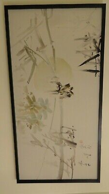 vintage painting asian chinese or japanese? watercolor on canvas signed art