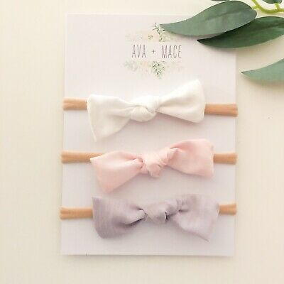 3 X Bow Headband Pack Newborn Baby Girl Toddler Nylon Lilac White Pink Fabric