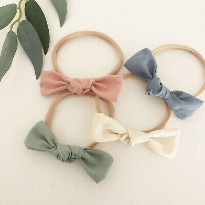 4 x Bow Headband Packs Green Pink Cream Ivory Blue Baby Girl Newborn Nylon