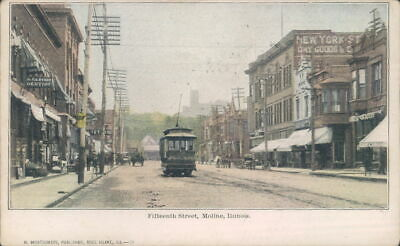 Moline, Illinois Postcard 1907 View Fifteenth Street Trolley Car Dr. E.J. Ryder