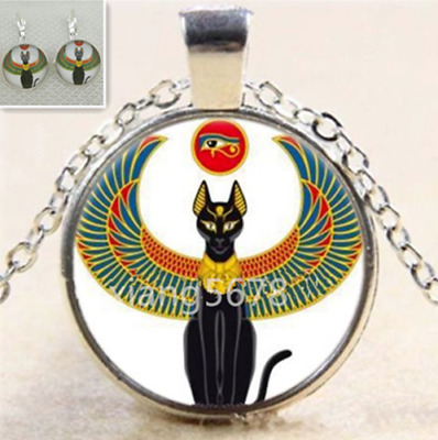 Egyptian Cat With An Eye Glass Tibet Silver Chain Pendant earring Necklace