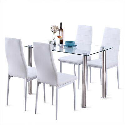 5PCS Dining Glass Table Chairs Set Leather Kitchen Metal Frame Furniture White