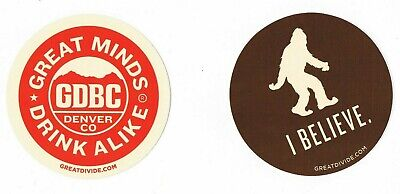 GREAT DIVIDE BREWING COMPANY YETI I BELIEVE STICKERS decal craft beer Lot Of 2