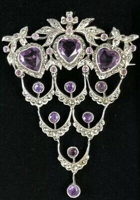 Antique Victorian French Sterling Silver Amethyst Brooch Stomacher 1800's