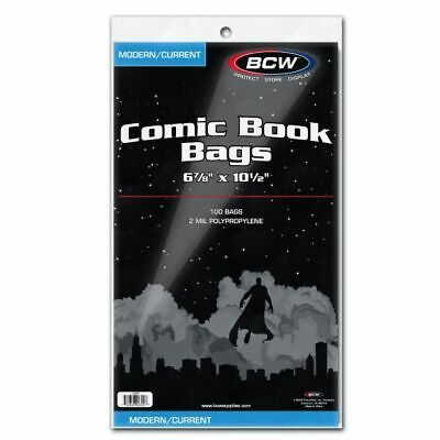 100 BCW Modern/Current Comic Book Bags - Clear Plastic - 6-7/8in x 10-1/2in