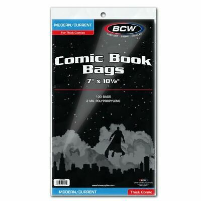 100 BCW Modern/Current Thick Comic Book Bags 7in x 10-1/2in - Clear Plastic
