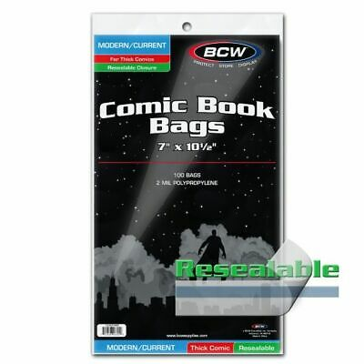 100 BCW Modern/Current Thick Resealable Comic Book Bags - 7in x 10-1/2in