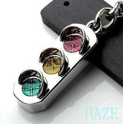 New Mini Traffic Light Car Key Ring Chain Classic 3D Keyfob Keychain Ring Gifts