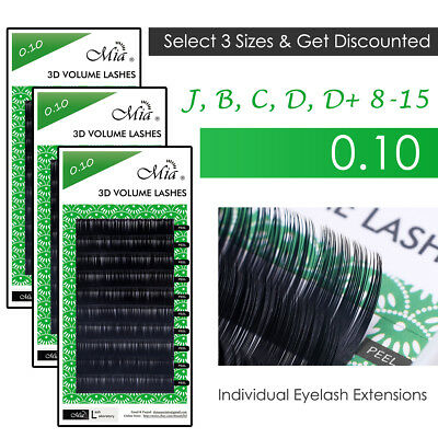 [3 Pack] Mia 0.10 Mink Lash Eyelash Extension 3D Russia Volume Semi Permanent