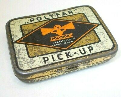Vintage tin box antique old tin metal Gramophone needle phonograph Polydor
