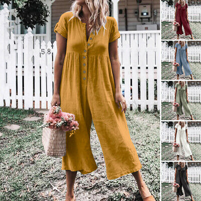 AU Women Party Holiday Dungaree Culottes Romper Long Overalls Plus Size Jumpsuit