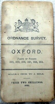 """ORDNANCE SURVEY map OXFORD 1906 Third edition (small sheet) """"Brown roads"""""""