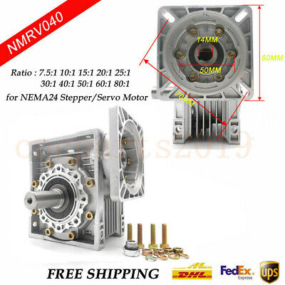 NMRV040 Worm Gear Reducer 14mm Input Ratio 10-100:1 for NEMA24/34 Stepper Motor