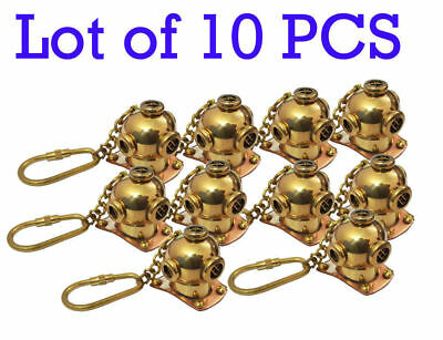 Brass Divers Helmet Keychain LOT of 10 Pieces Nautical Diving Keyring Gift item