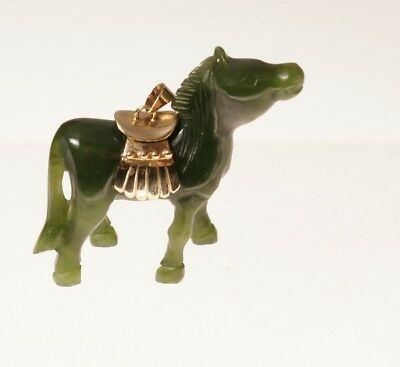 Chinese  Jade Horse With Gold Saddle Pendent