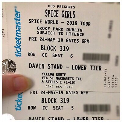 Two Spice Girls Tickets Under Face Value Great Seats Croke Park Dublin Ireland.