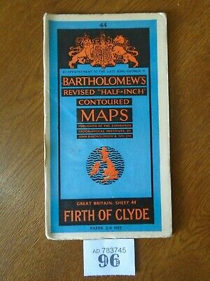 No.44 FIRTH OF CLYDE / SCOTLAND - Vintage Bartholomews Map - Half Inch on Paper