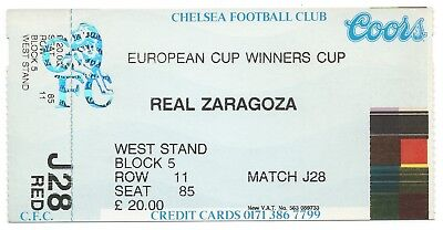 FOOTBALL EUROPEAN CUP WINNERS CUP 1995 original ticket CHELSEA v REAL ZARAGOZA