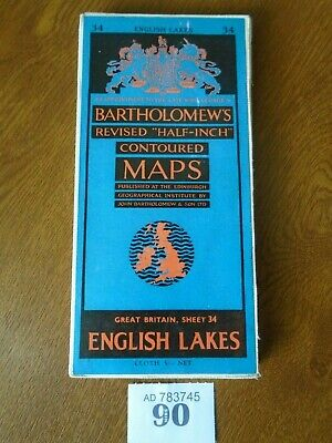 No.34 ENGLISH LAKES / Lake District - Vintage Bartholomews Map - Half Inch CLOTH