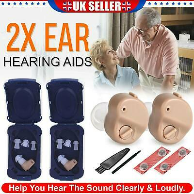 2Pcs Mini Invisible Hearing Aid Digital In Ear Enhancer Sound Voice Amplifier