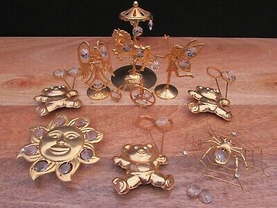 Job Lot Of Vintage Brass / Crystal Figures And Window Decorations X 9