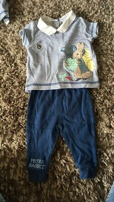 Baby Peter Rabbit Romper Outfit Grey Stripe Baby Boys Clothes 0-3 Months Up To 14.5lb