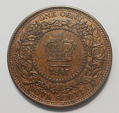 1861 LARGE BUD Nova Scotia Large Cent aEF Beauty HIGH Grade Victoria N.S. Penny