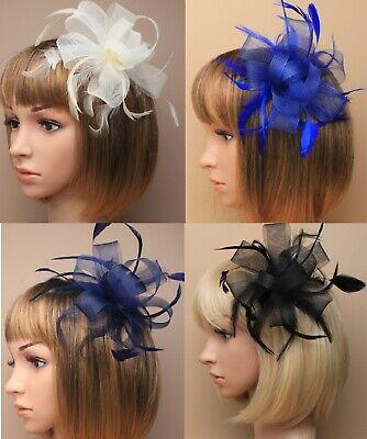 Sinamay Large Ribbon Flower & feathers clear Hair Comb Wedding/Party Fascinator