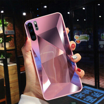 For Huawei P20 P30 Pro Lite Luxury Diamond Mirror Acrylic Soft Bumper Case Cover