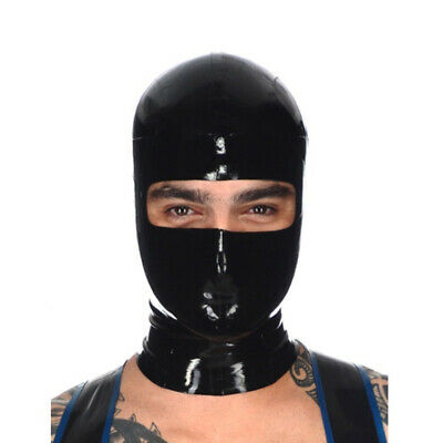0.4mm Handmade Sexy Latex Mask Rubber Hood Open Eye for Party Wear  New Black