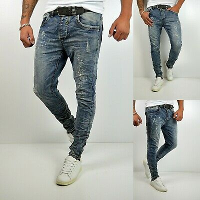 FASHION HERREN STYLE FARBKLECKS SKINNY Fit YOUNG MODE VINTAGE Denim JEANS HOSE