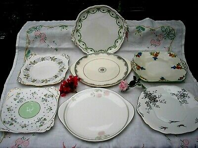 Collection Of Mismatched English Vintage China - 7  X Cake Sandwich  Plates.