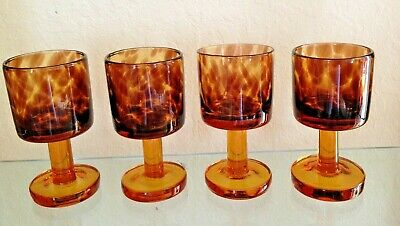 Vintage Mid Century Modern Tortoise Shell Hand blown 10oz  Wine Glasses Set of 4