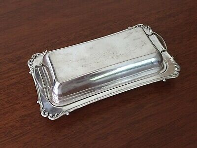 """Sterling Silver Antique Scrolled Edge Butter Dish 9.4oz Marked W 7.5"""" Long"""