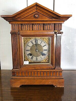 Small Wooden Cased Mantle Clock. Vintage Clock