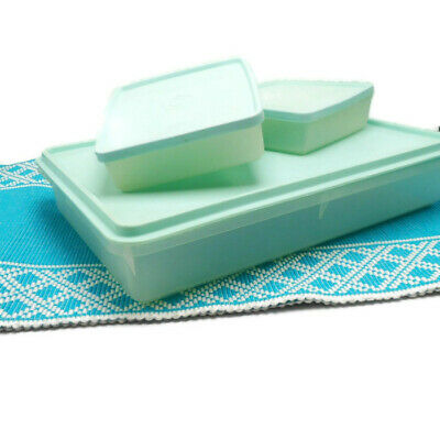 Vintage Tupperware Sheer with Mint Lids Rectangle 291 Sandwich Keepers 671-4