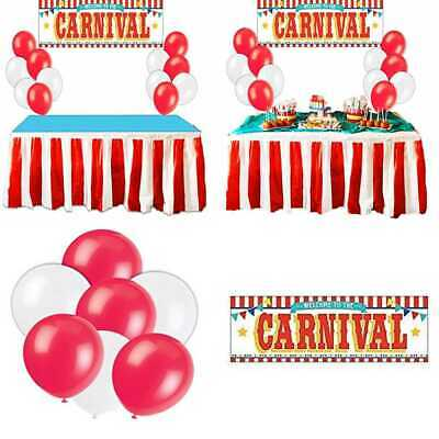93412dfb6 Carnival Circus Party Supplies Decorations RED & WHITE Striped Table Skirt  Plas