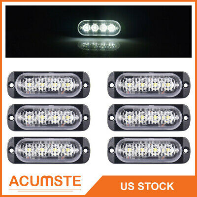 6X White Car 4 LED Emergency Strobe Light Kit Bar Marker Flash Warning Lamp