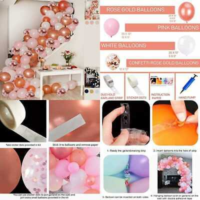 Balloon Arch Garland Kit PINK ROSE GOLD WHITE Balloons In Assorted Sizes Decorat