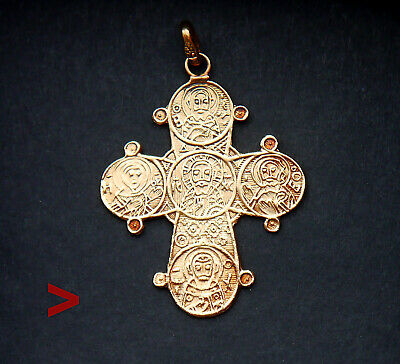 Orthodox Byzantine Pectoral Cross Crucifix Solid 14K Gold / 3cm / 1.9 gr