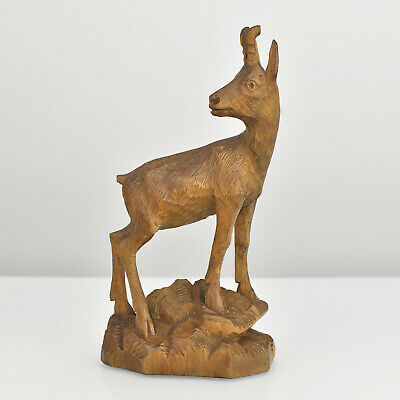Antique Carved Buck Figurine Wood Carving Brienz Black Forest